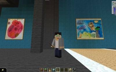A selfie with real paintings in Minecraft