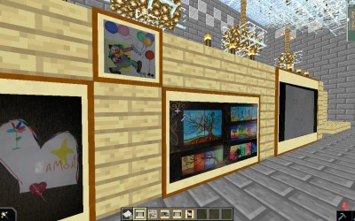 My real paintings in a Minecraft Louvre