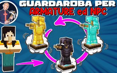 COME FARE UN GUARDAROBA FUNZIONANTE SU MINECRAFT PER LE ARMATURE O NPC (PE PS4 SWITCH XBOX BEDROCK)